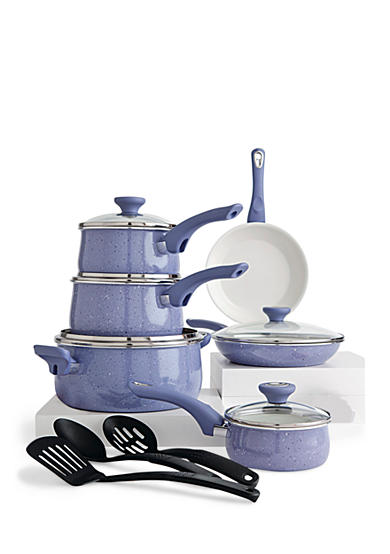Farberware New Traditions Speckled Aluminum Nonstick 14-Piece Cookware Set, Lavender