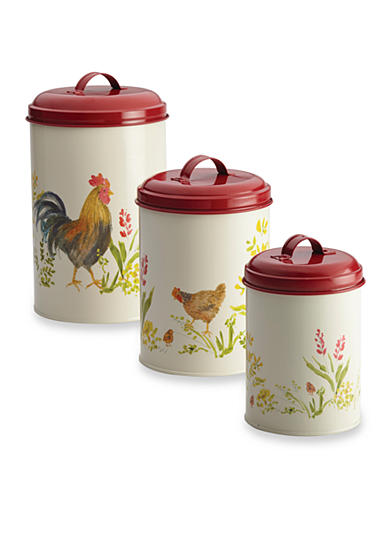 Paula Deen Pantryware 3-Piece Garden Rooster Food Storage Canister Set
