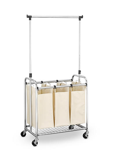 Household Essentials® Heavy Duty Triple Laundry Cart W/Removable Telescoping Hanger Bar
