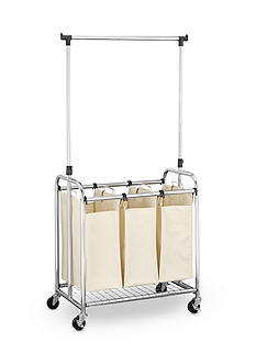 Household Essentials Heavy Duty Triple Laundry Cart W/Removable Telescoping Hanger Bar