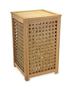 Household Essentials Oak Lattice Hamper with Barnwood Finish - Online Only