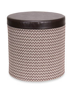 Household Essentials® Round Storage Ottoman with Padded Seat, Brown chevron