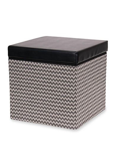 Household Essentials® Square Storage Ottoman with Padded Seat, Black chevron