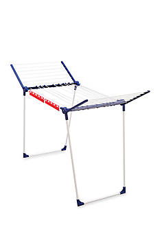 Leifheit Varioline M Deluxe Winged Clothes Drying Rack with Adjustable Lines, blue and white