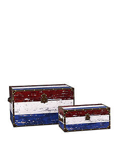 Household Essentials Red, White and Blue Decorative Trunk Set