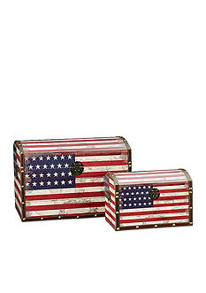 Household Essentials Vintage American Flag Decorative Trunk Set