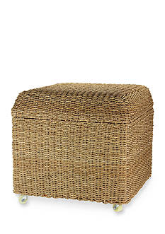 Household Essentials Seagrass Rolling Wicker Storage Ottoman