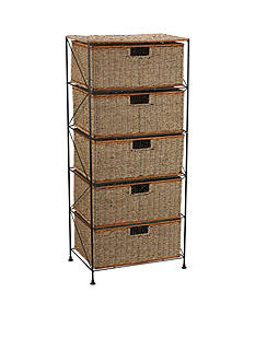 Household Essentials® Seagrass/Rattan 5 Drawer Storage Unit - Online Only