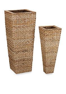 Household Essentials Banana Leaf Wicker Nested Vases (Set of 2) - Online Only