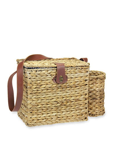 Household Essentials® Banana Leaf Picnic Basket with Service for 2 and Wine Caddy