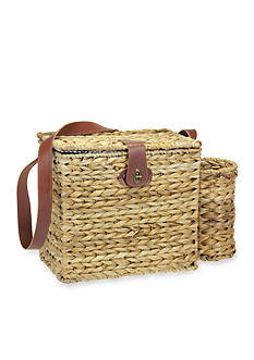Household Essentials Banana Leaf Picnic Basket with Service for 2 and Wine Caddy