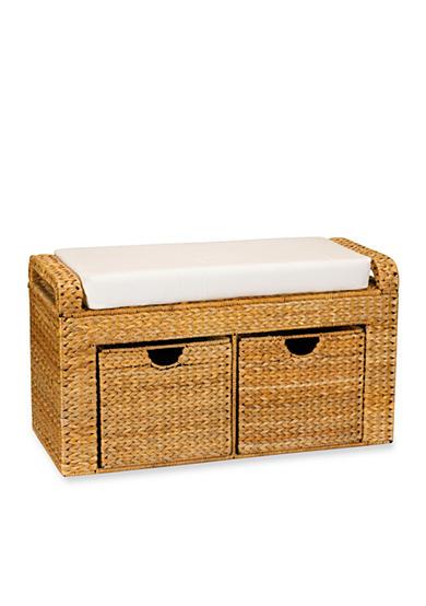 Household essentials banana leaf wicker storage bench online only belk Rattan storage bench
