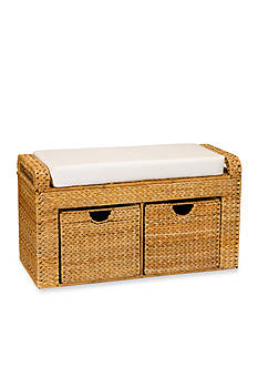 Household Essentials® Banana Leaf Wicker Storage Bench - Online Only