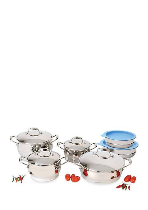 Berghoff zeno 12 piece cookware set with mixing bowls belk for Zeno kitchen set