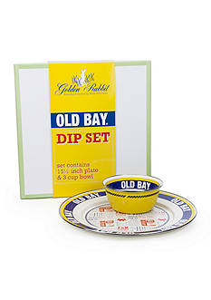 Golden Rabbit 2-Piece Old Bay Charger and Bowl Gift Set