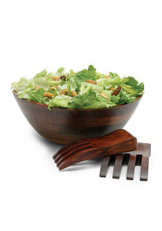 Lipper International Large Wavy Rim Bowl with Salad Hands - Online Only