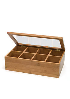 Lipper International Bamboo 8-Compartment Tea Box