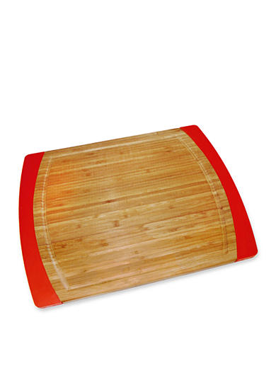 Lipper International Bamboo & Red Silicone Non-slip Large Cutting Board