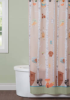 Saturday Knight Forest Friends Shower Curtain and Hooks Collection
