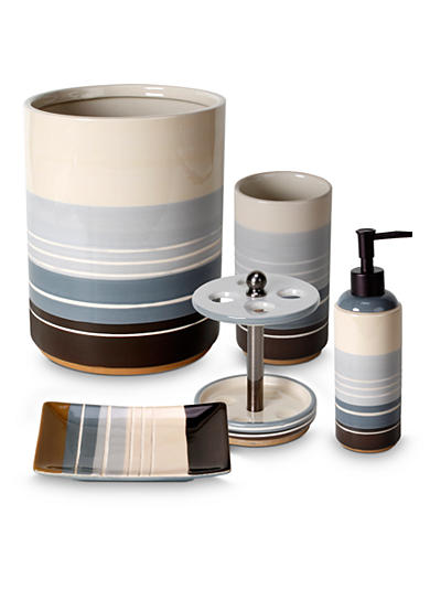 Saturday knight madison stripe blue bath accessories for Blue and white striped bathroom accessories