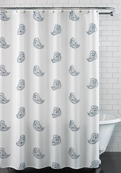 Excell Blue Paisley Shower Curtain
