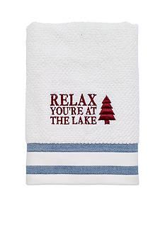 Avanti Lake Words White/Navy Hand Towel