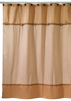 Avanti Braided Medallion Gold Shower Curtain
