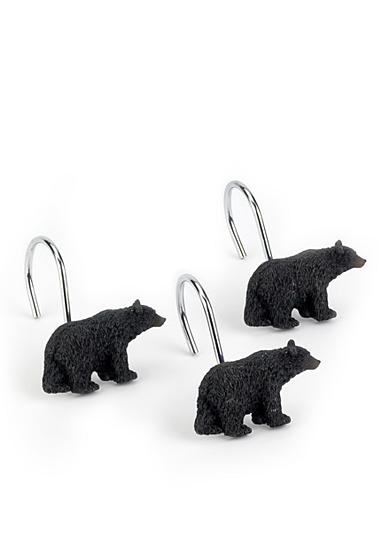 Avanti Black Bear Shower Curtain Hooks