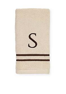 Avanti Premier Ivory and Brown Monogram Fingertip Towel - S