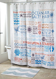 Avanti Beach Words Shower Curtain and Shower Hooks