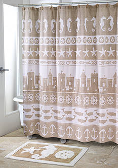 Avanti Sea & Sand Shower Curtain and Hooks