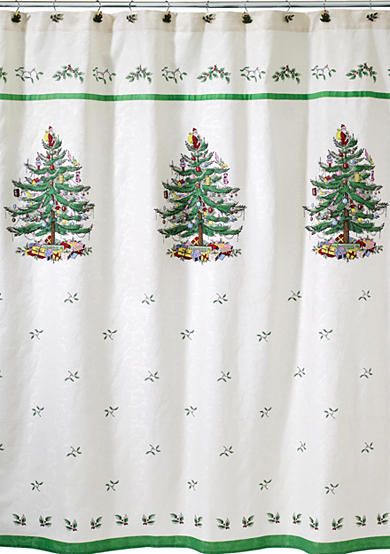 Spode Christmas Tree Shower Curtain and Hooks