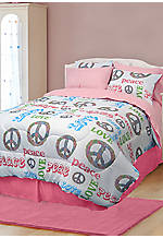 Peace and Love Queen Comforter Set 86-in. x 86-in.