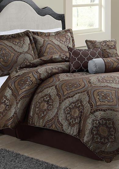 Monroe Bluestone Foulard 7 Piece Comforter Set Belk
