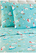 Micro Flannel® Fun In The Snow Twin Sheet Set - Fitted 39-in. x 75-in.