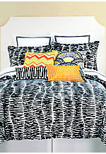Zebra Stripe Black/White Twin Comforter Set 68-in. x 92-in.