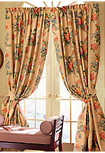 Hamilton Multicolored Lined Floral Window Panel Pair with Tie Backs 50-in. x 86-in.