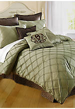 Pintuck Sage King Solid Bedskirt 15-in. Drop
