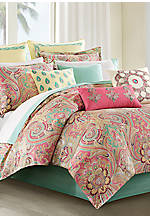 Guinevere Coral/Mint King Comforter Set 110-in. x 96-in.