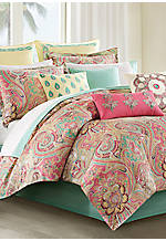 Guinevere Coral/Mint California King Comforter Set 110-in. x 96-in.