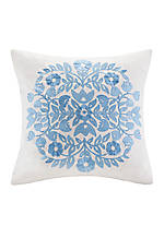 Painted Paisley Blue Embroidered Decorative Pillow 16-in. X 16-in.