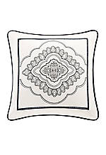 Naples White Embroidered Decorative Pillow 18-in. x 18-in.
