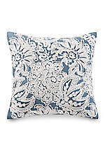 Emmaleen Blue Floral Chain Stitching Decorative Pillow 18-in. x 18-in.