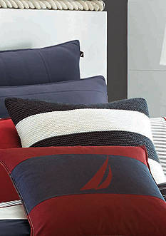 Nautica Mainsail Ivory/Navy Knitted Decorative Pillow