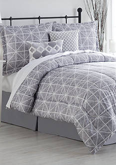 Home Accents Turnstyles Watercolor Geo Reversible 6-Piece Bedding Ensemble