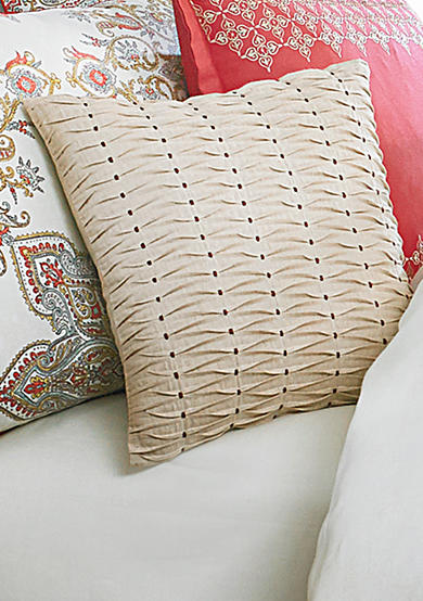 Biltmore® Garden Medallion Khaki Pleated Square Decorative Pillow