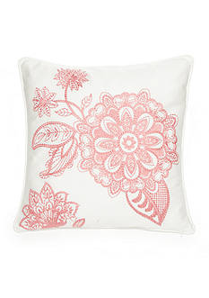 Biltmore Primavera Embroidered Pink Flower Decorative Pillow