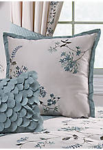 Allium Blue Square Applique Decorative Pillow 18-in. x 18-in.
