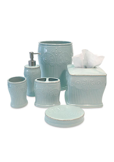 Lenox french perle ice blue bath accessories belk for French bathroom accessories