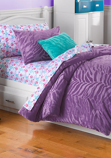 Home Accents® Purple Zebra Comforter Set